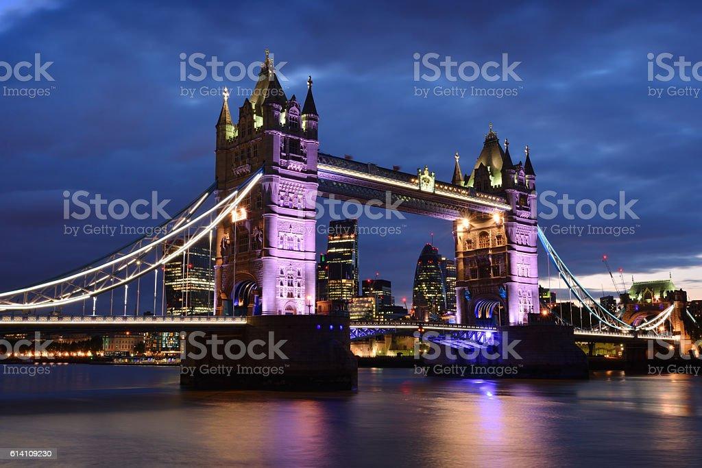 Tower Bridge London at night stock photo