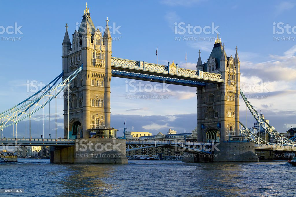Tower Bridge, London,  evening light, blue sky royalty-free stock photo