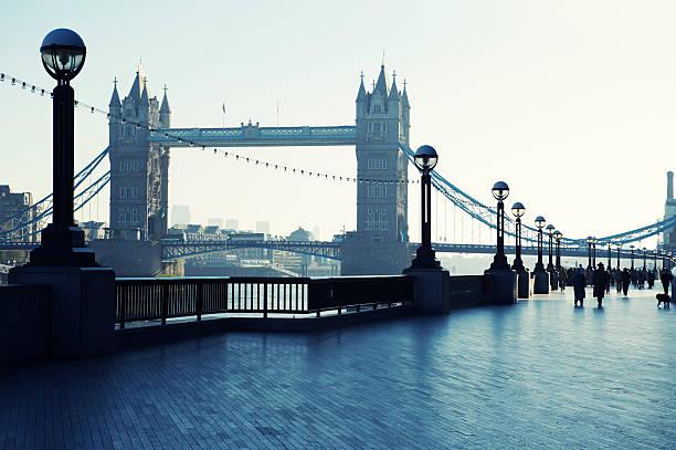 Tower Bridge London From South Bank Promenade stock photo