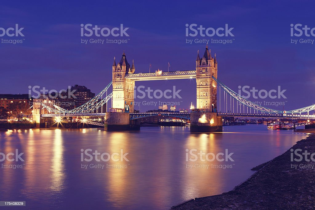 Tower Bridge London in the evening royalty-free stock photo