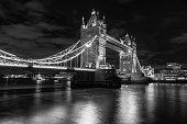 Light Trails over Tower Bridge in London