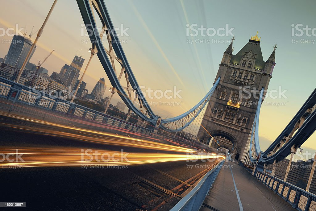 Tower Bridge morning traffic stock photo
