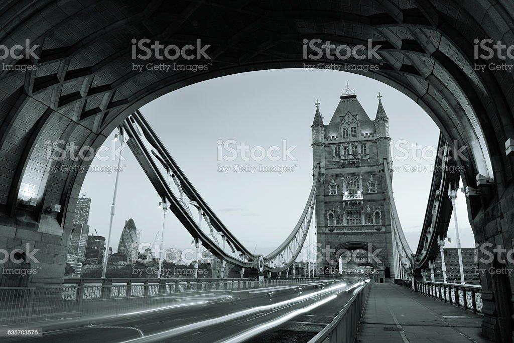 Tower Bridge morning traffic royalty-free stock photo