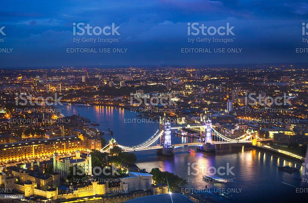 Tower bridge night view. London's panorama at sun set. stock photo