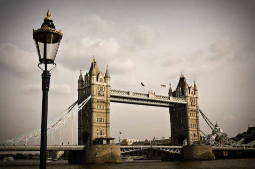 Tower Bridge Old View Stock Photo - Download Image Now