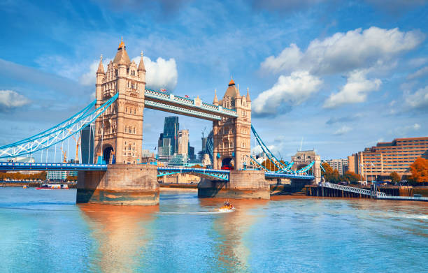 Tower Bridge on a bright sunny day in Autumn Tower Bridge on a bright sunny day in Autumn. Location - London, England, UK. london england stock pictures, royalty-free photos & images