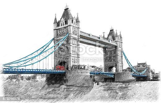 Tower Bridge on River Thames in London, England.  Illustration in draw, sketch style.