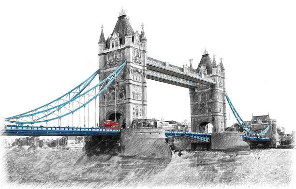 tower bridge on river thames in london, england.  illustration in draw, sketch style. - pencil drawing stock pictures, royalty-free photos & images