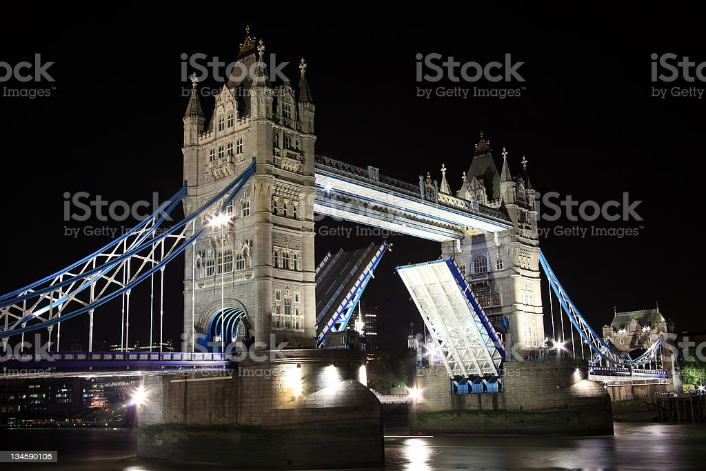 Tower Bridge Opening At Night stock photo