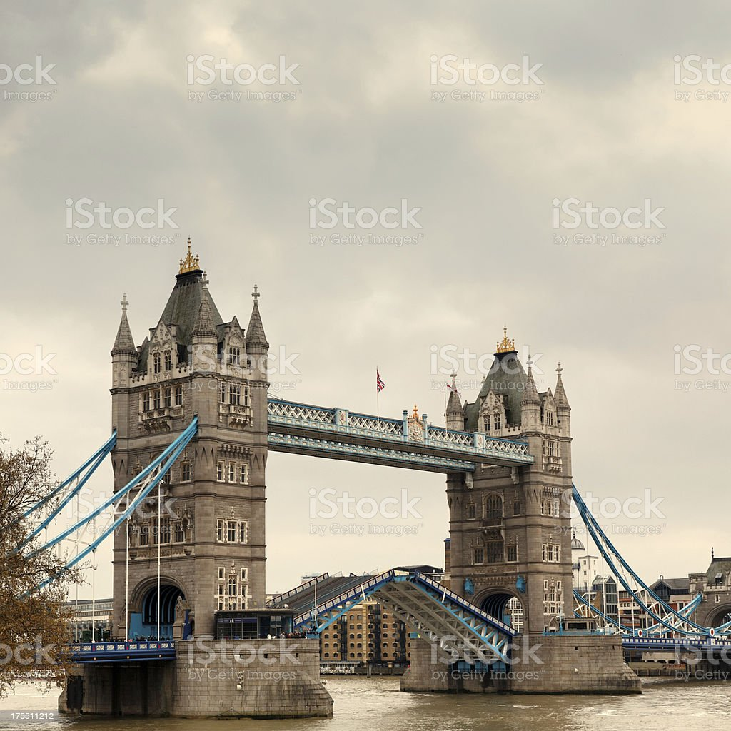 Tower Bridge opening in London royalty-free stock photo