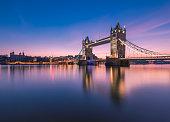 Tower Bridge in London, captured in dawn