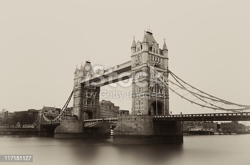 One minute time exposure shot of the famous Tower Bridge, London. Sepia toned.
