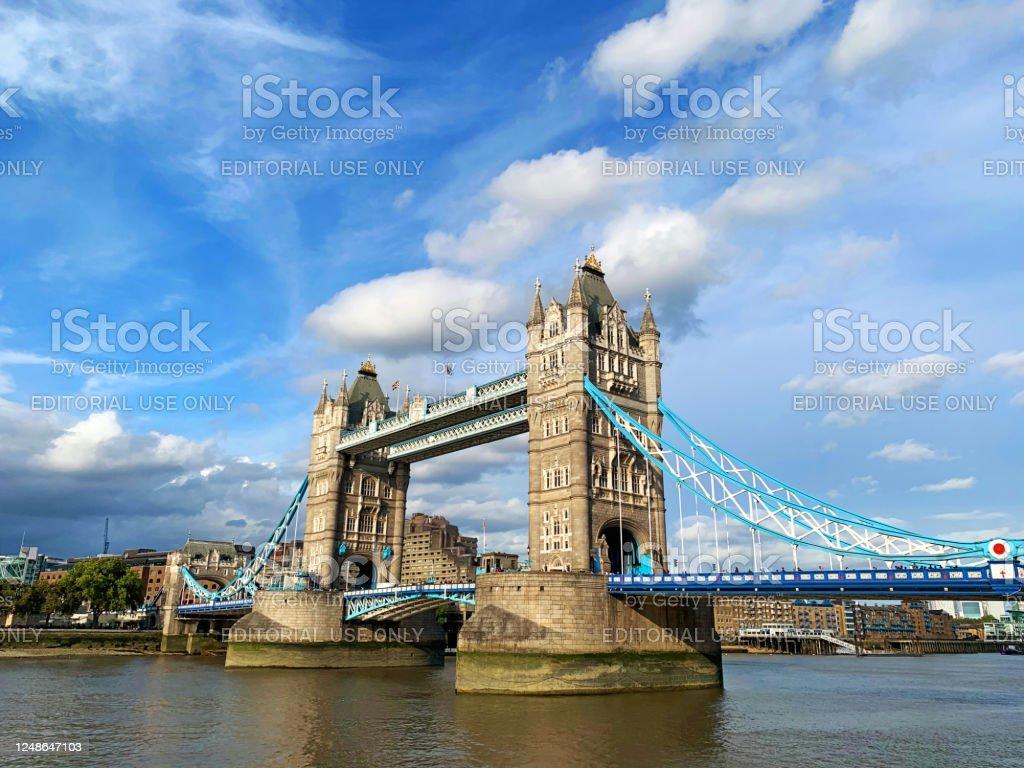 Tower Bridge Spectacular Tower Bridge on the Thames river, iconic symbol of London, United Kingdom. Architecture Stock Photo