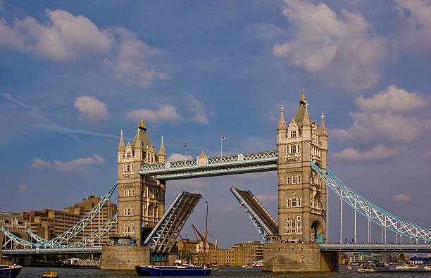 Tower bridge rising. stock photo