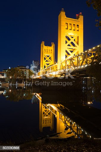 Night falls on the spectacular Tower Bridge over Sacramento's beautiful riverfront