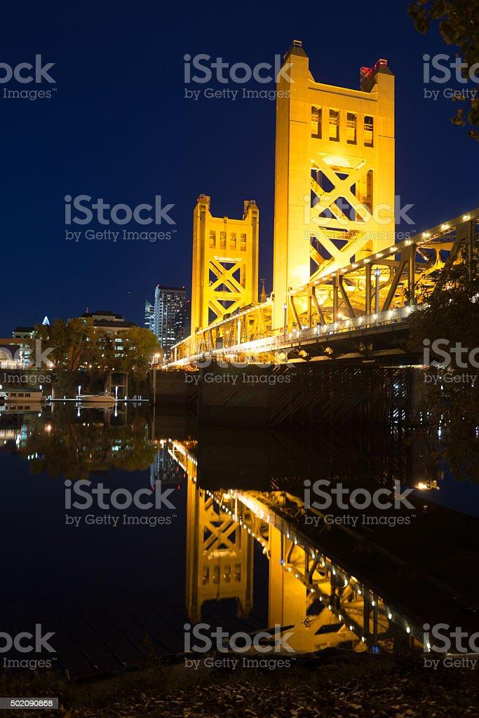 Tower Bridge Sacramento River Capital City California Downtown Sacramento stock photo