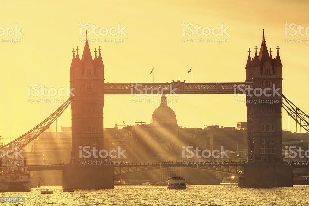 Tower Bridge silhouette stock photo