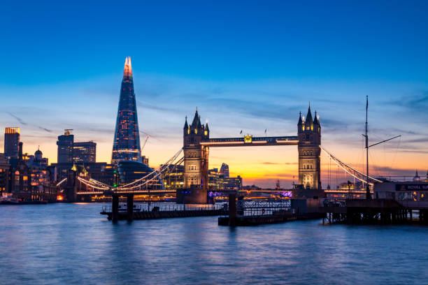 Tower Bridge Sunset A beautiful sunset shot looking over the Thames towards Londons iconic Tower Bridge and on towards the Shard. london england stock pictures, royalty-free photos & images