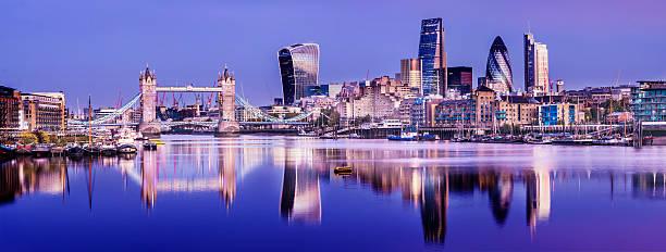 Tower Bridge Thames Reflection and London City Skyline stock photo