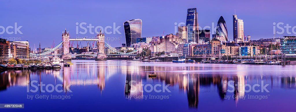 Tower Bridge Thames Reflection and London City Skyline stock photo