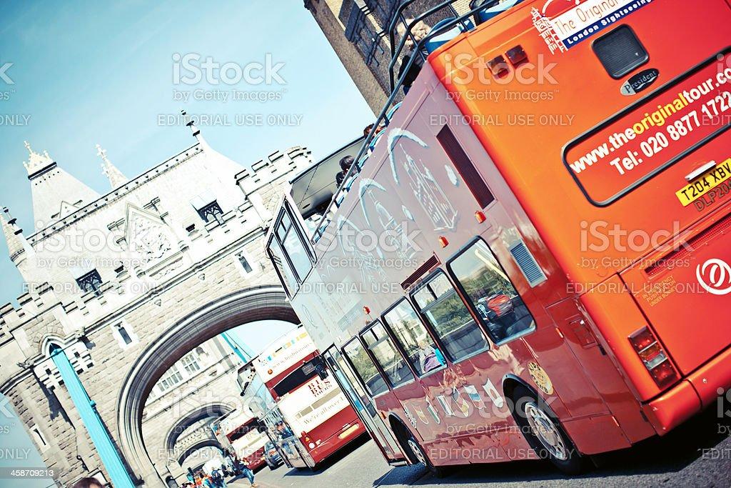 Tower Bridge traffic. stock photo