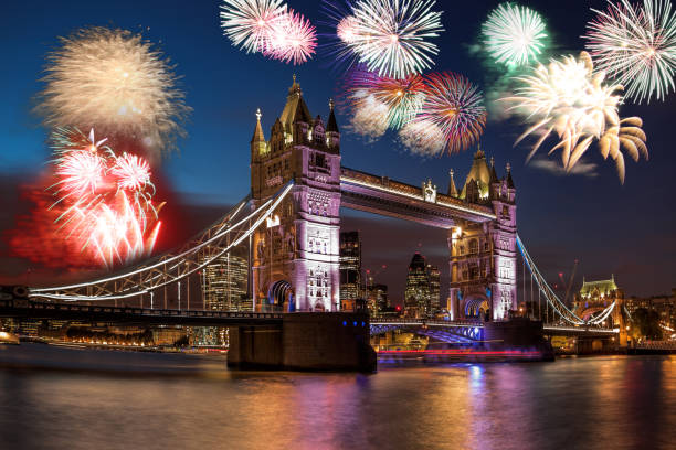 Tower Bridge with firework in London, England (celebration of the New Year) stock photo