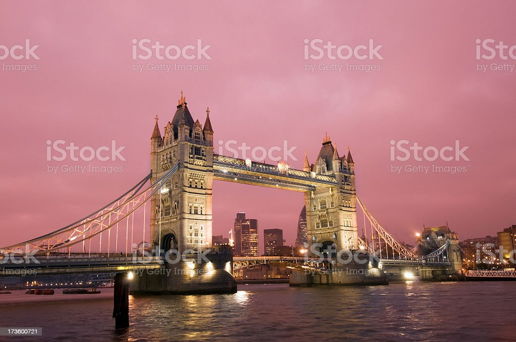 Tower Bridge with Red Sunset Sky London UK royalty-free stock photo