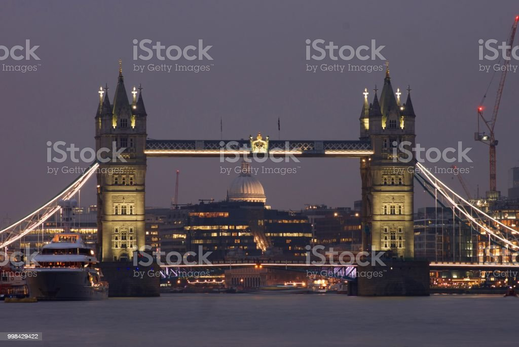 Tower Bridge with St Paul's Cathedral behind stock photo