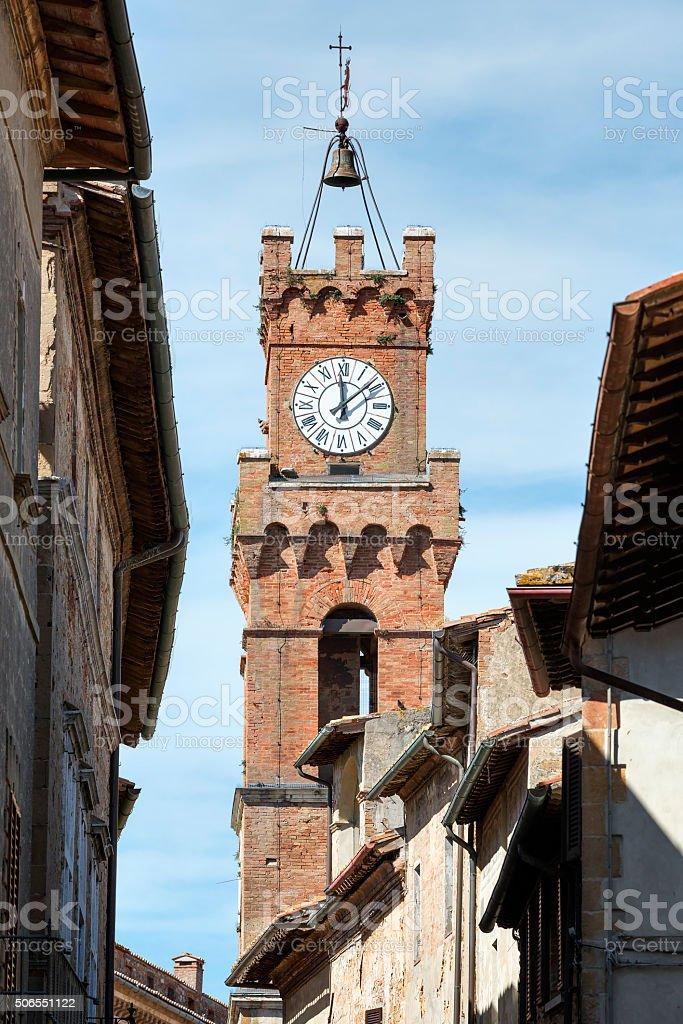 Tower city hall Pienza stock photo