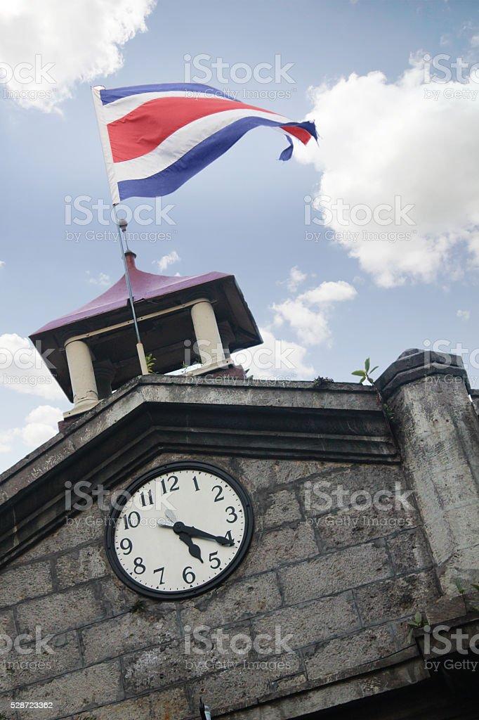 Tower clock flag Costa Rica, 5:20 stock photo
