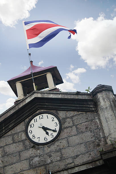 Tower clock flag Costa Rica, 5:20 stock photo