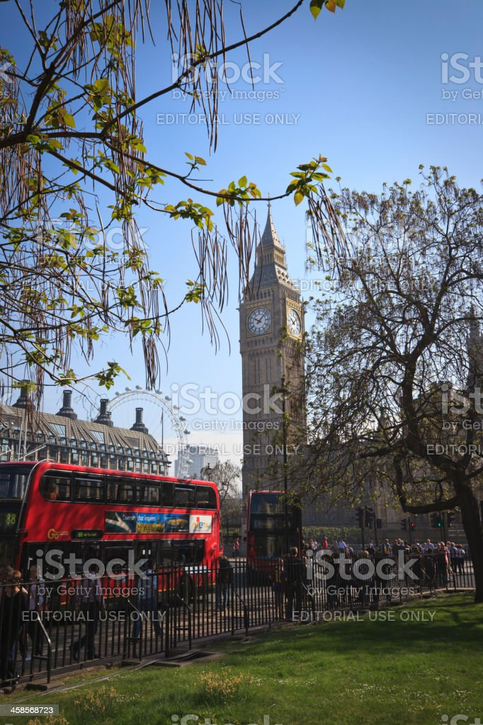 Tower Clock, Houses of Parliament from Westminster Abbey royalty-free stock photo
