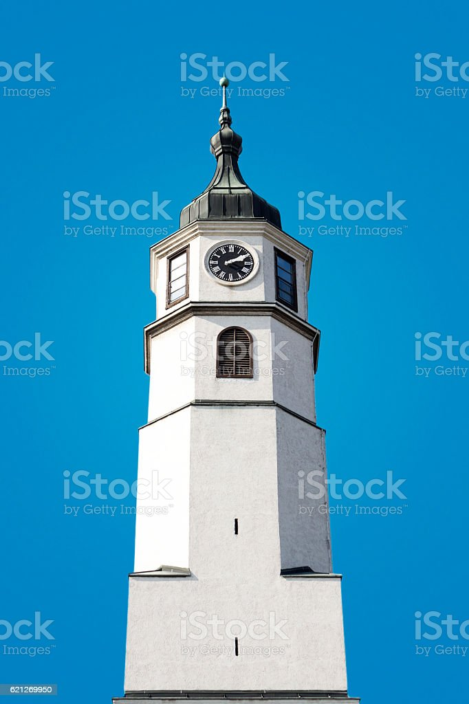 Tower Clock On Blue Background stock photo