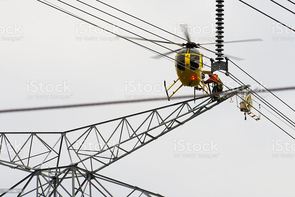 Tower Construction with Helicopter stock photo