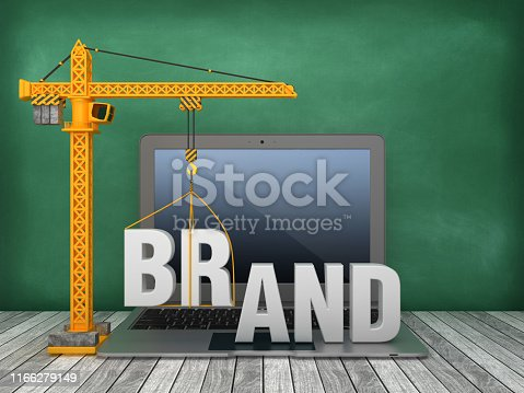 Tower Crane and Laptop with BRAND Word on Chalkboard Background - 3D Rendering