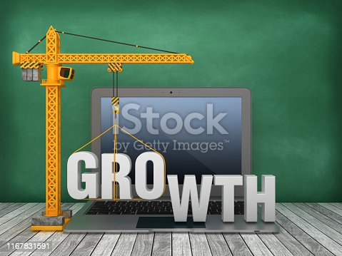 Tower Crane and Laptop with GROWTH Word on Chalkboard Background - 3D Rendering