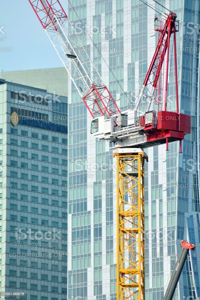 Tower crane Liebherr 315 HC-LS on the construction site of Varso Place stock photo