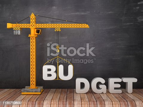 Tower Crane with BUDGET Word on Chalkboard Background - 3D Rendering