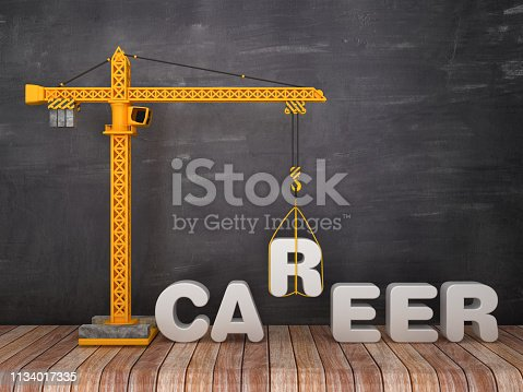 Tower Crane with CAREER Word on Chalkboard Background - 3D Rendering