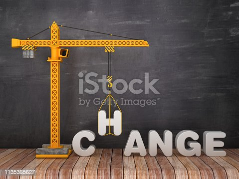 Tower Crane with CHANGE Word on Chalkboard Background - 3D Rendering