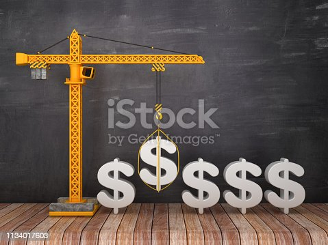 Tower Crane with DOLAR SIGN on Chalkboard Background - 3D Rendering