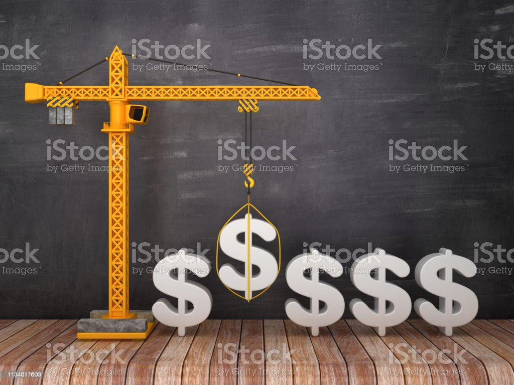 Tower Crane with DOLAR SIGN on Chalkboard Background - 3D Rendering stock photo