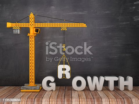Tower Crane with GROWTH Word on Chalkboard Background - 3D Rendering
