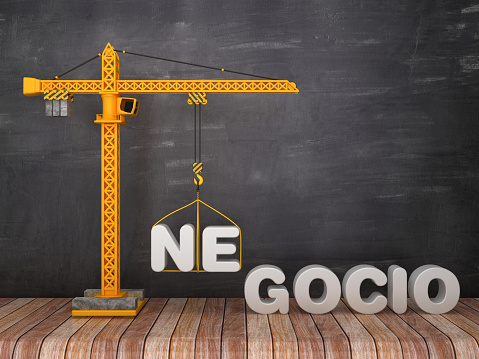 Tower Crane with NEGOCIO Word - Spanish Word - Chalkboard Background - 3D Rendering