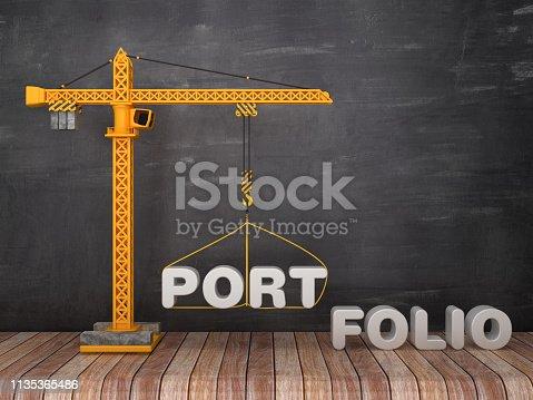 Tower Crane with PORTFOLIO Word on Chalkboard Background - 3D Rendering
