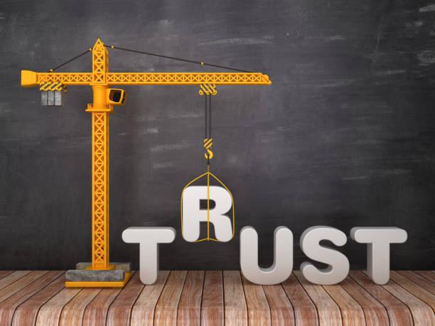 Turmkran mit TRUST-Wort auf Chalkboard-Hintergrund-3D-Rendering – Foto