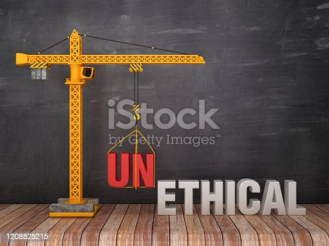 824305956 istock photo Tower Crane with UNETHICAL / ETHICAL Words on Chalkboard Background - 3D Rendering 1208825215