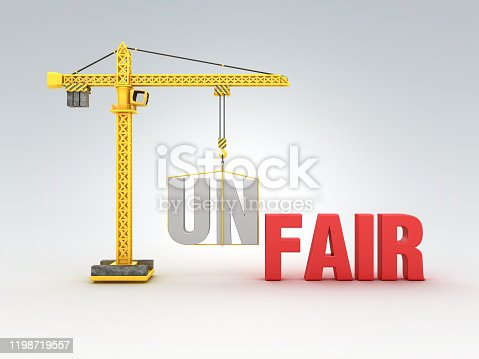 Tower Crane with UNFAIR/FAIR Words - 3D Rendering