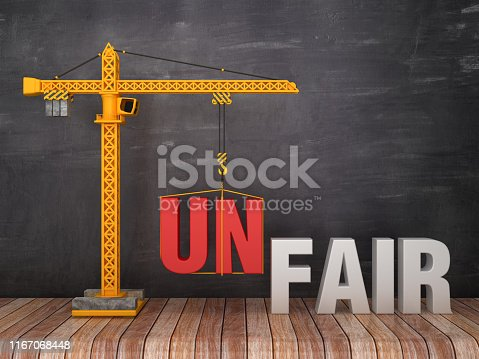 Tower Crane with UNFAIR/FAIR Words on Chalkboard Background - 3D Rendering