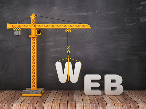Tower Crane with WEB Word on Chalkboard Background - 3D Rendering